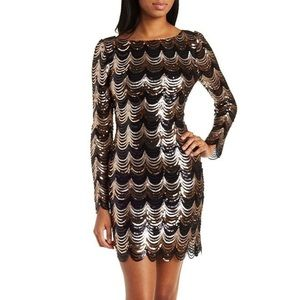 Black and silver scalloped sequin dress